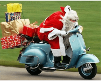 Santa rushing to christmas