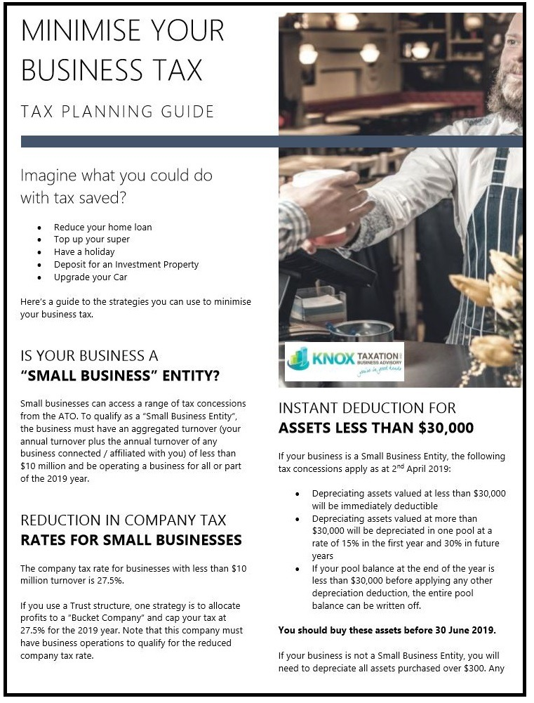 Business Tax Planning Front Cover