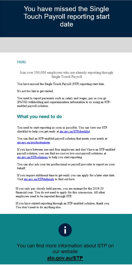 STP email - Closely Held Companies