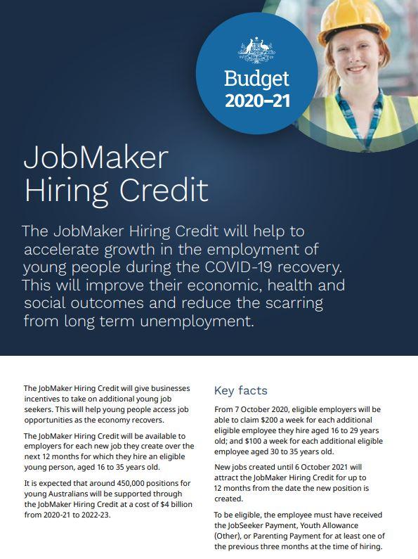 FREE Fact Sheet - JobMaker Hiring Credit